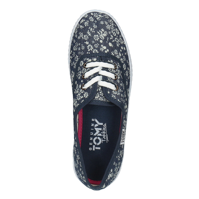 Women's sneakers with a floral design tomy-takkies, blue , 519-9692 - 19