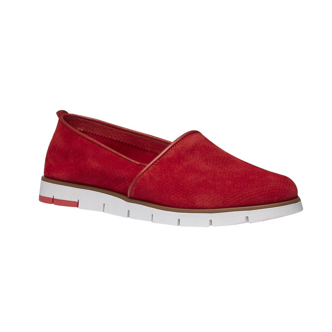Leather Slip-ons with perforations flexible, red , 513-5200 - 13