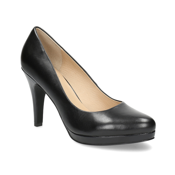 Black leather pumps insolia, black , 724-6104 - 13