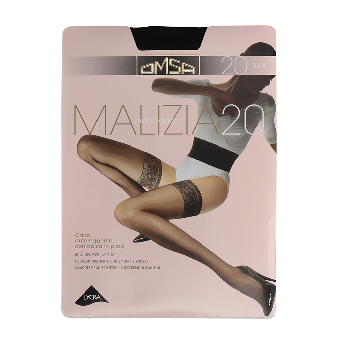 Self-holding nylons with lacy hem omsa, black , 919-6403 - 13