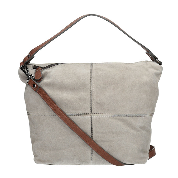 Leather Hobo-style handbag bata, gray , 963-2130 - 19
