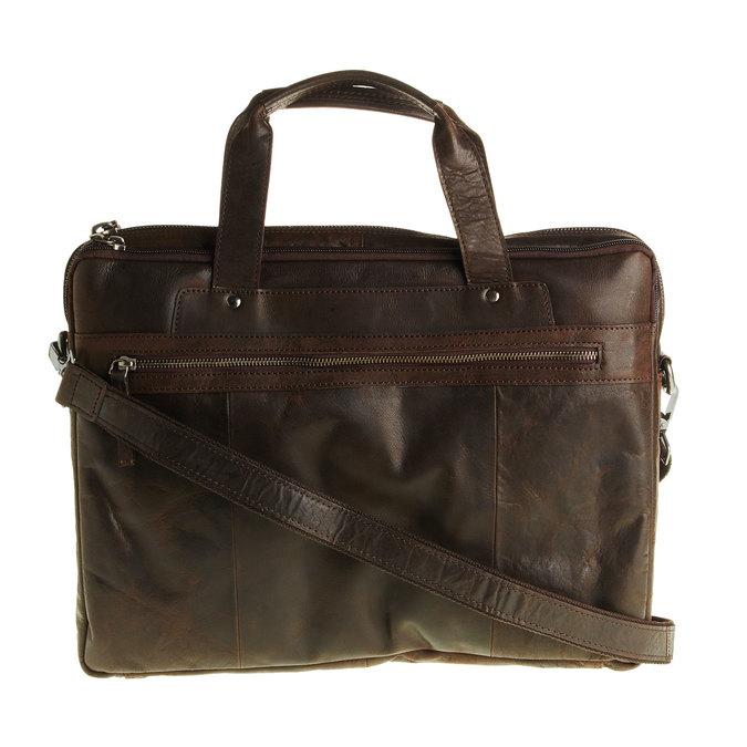 Zippered leather bag bata, brown , 964-4101 - 26