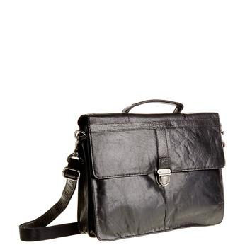 Leather briefcase bata, black , 964-6138 - 13