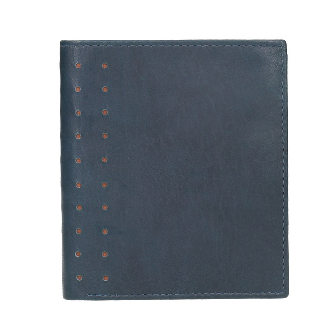 Leather wallet with perforations bata, blue , 944-9175 - 26