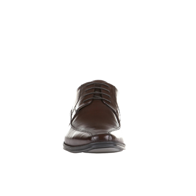 Casual leather shoes on a contrasting sole bata, brown , 824-4698 - 16