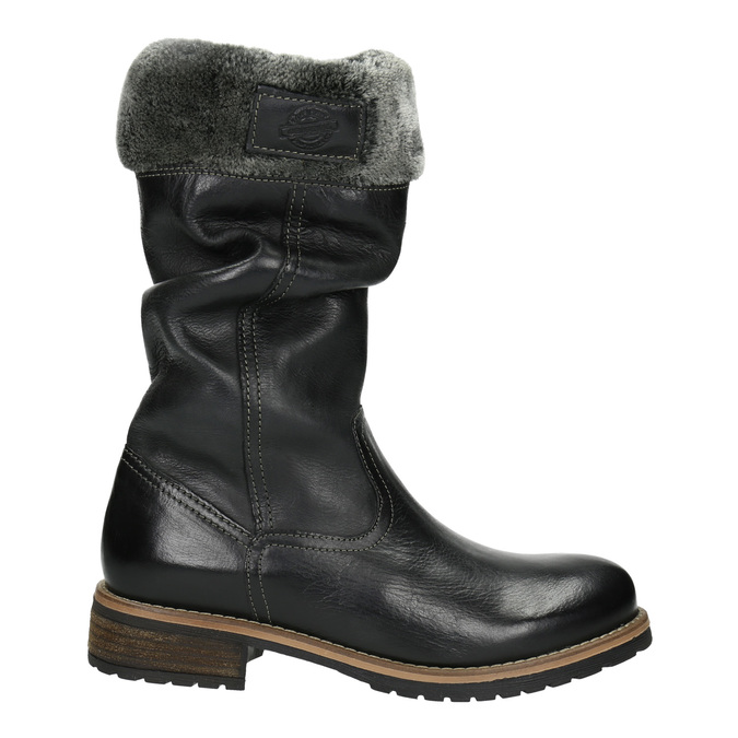 Children's leather high boots mini-b, black , 394-6191 - 15