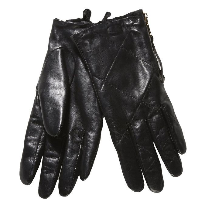 Ladies' leather gloves with quilting, black , 904-6108 - 13