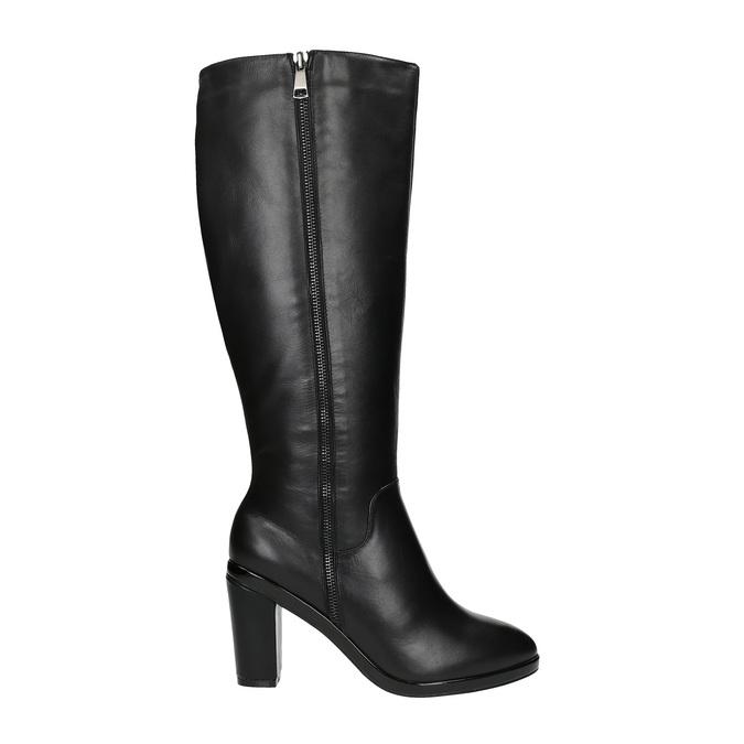 Leather high boots for broader calves bata, black , 694-6635 - 15