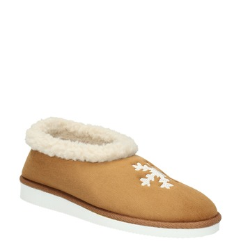 Slippers with artificial fur bata, brown , 579-8612 - 13