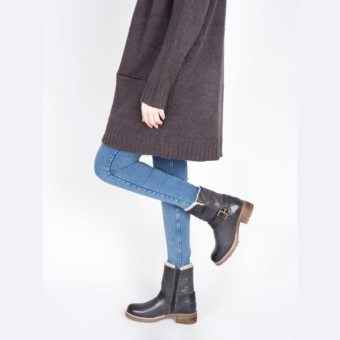 Ladies´ boots with fur bata, black , 594-6609 - 18