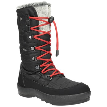 Ladies' black snow boots with fur weinbrenner, black , 599-6612 - 13