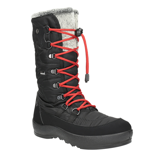 Ladies' black snow boots with fur weinbrenner, black , 599-6612 - 13