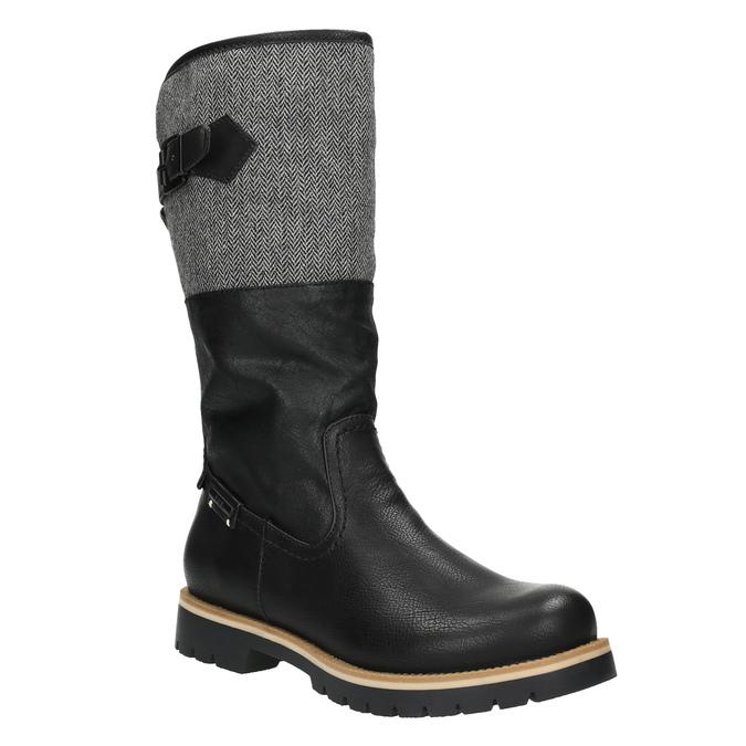 High boots with a distinctive sole bata, black , 591-6608 - 13