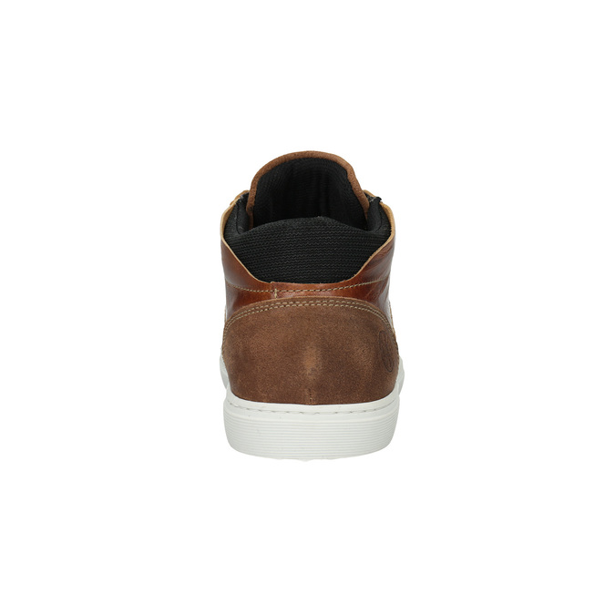 Leather ankle sneakers bata, brown , 844-3631 - 17