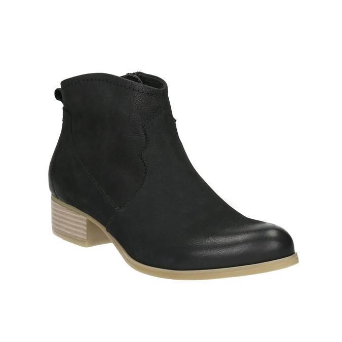 Black leather high ankle boots bata, black , 596-6633 - 13