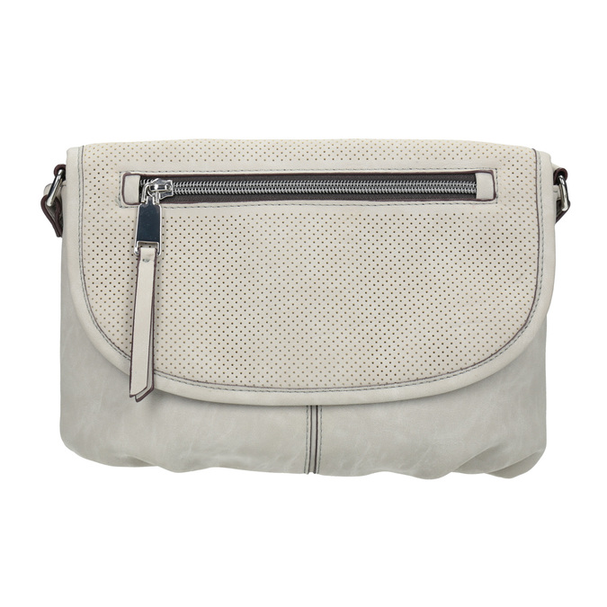 Crossbody handbag with perforated flap bata, beige , 961-2709 - 26