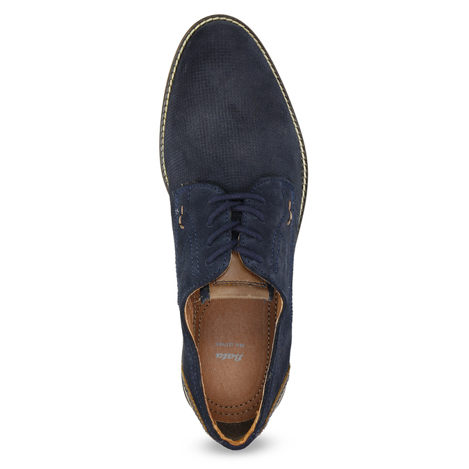 Leather shoes with striped sole bata, blue , 823-9600 - 17