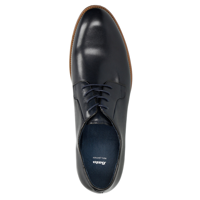 Leather shoes with a casual sole bata, blue , 826-9820 - 19
