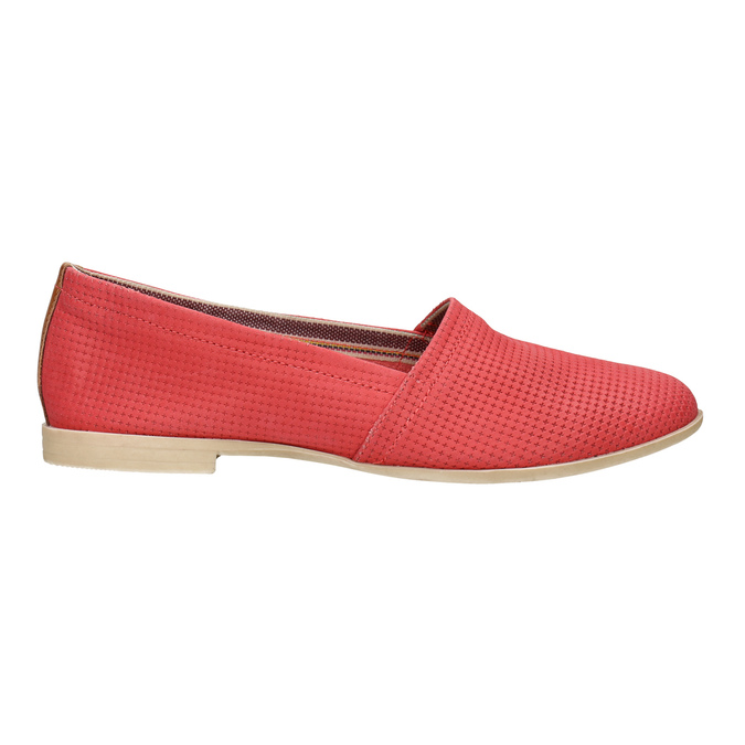 Red leather slip-ons bata, red , 516-5602 - 15