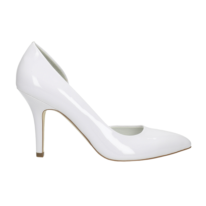 White pointed leather pumps, white , 728-1635 - 15