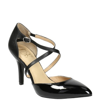 Leather pumps with straps across instep insolia, black , 728-6641 - 13
