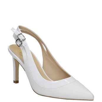White leather pumps with open heel insolia, white , 724-1634 - 13