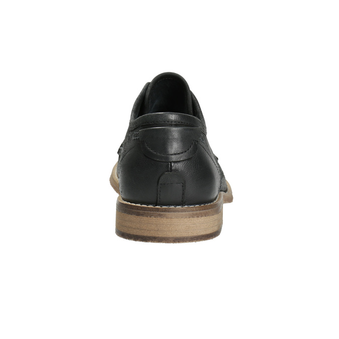 Men's leather shoes with distinctive stitching bata, black , 826-6815 - 17