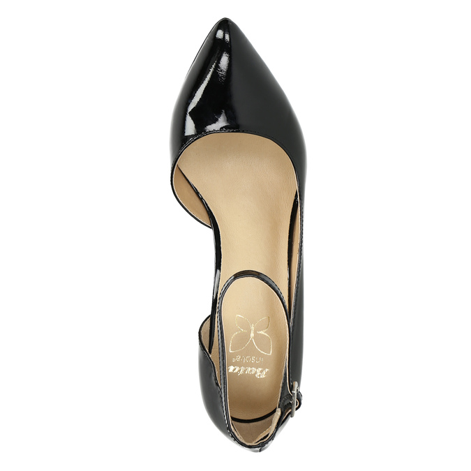 Black leather pumps with ankle strap insolia, black , 728-6640 - 19