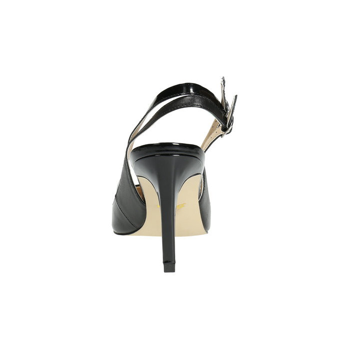 Black leather pumps with open heel insolia, black , 724-6634 - 17