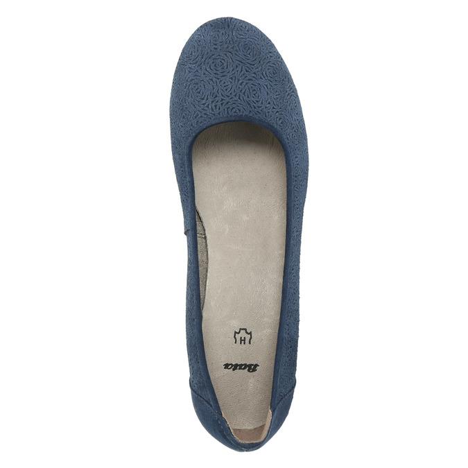 Leather pumps width H bata, blue , 623-9602 - 19