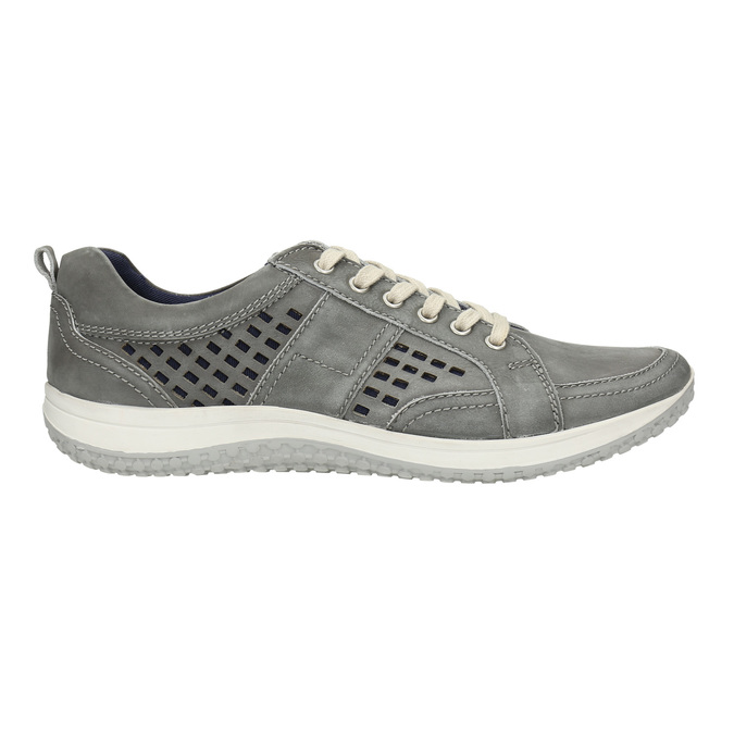 Leather tennis shoes with perforations bata, gray , 846-2634 - 15