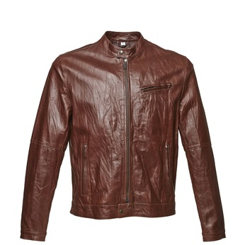 Women's leather jacket with trendy quilting, brown , 974-4142 - 13