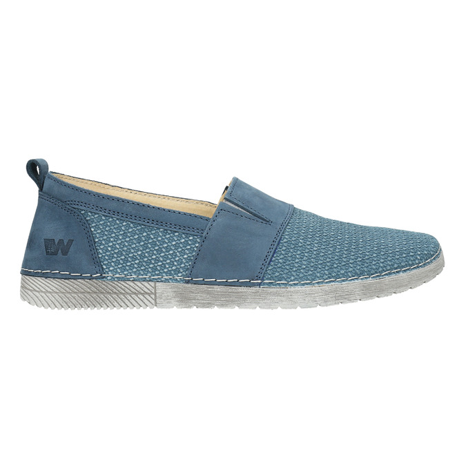 Blue leather slip-ons weinbrenner, blue , 513-9263 - 15