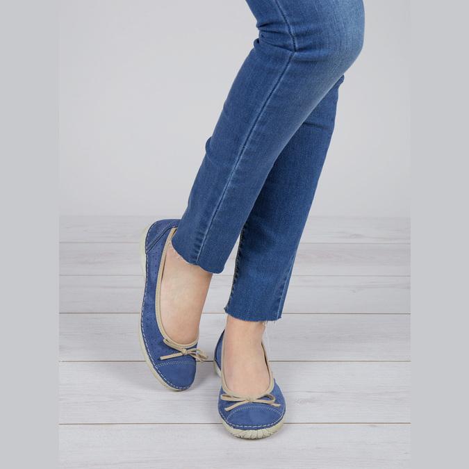 Casual leather ballerinas weinbrenner, blue , 526-9503 - 18