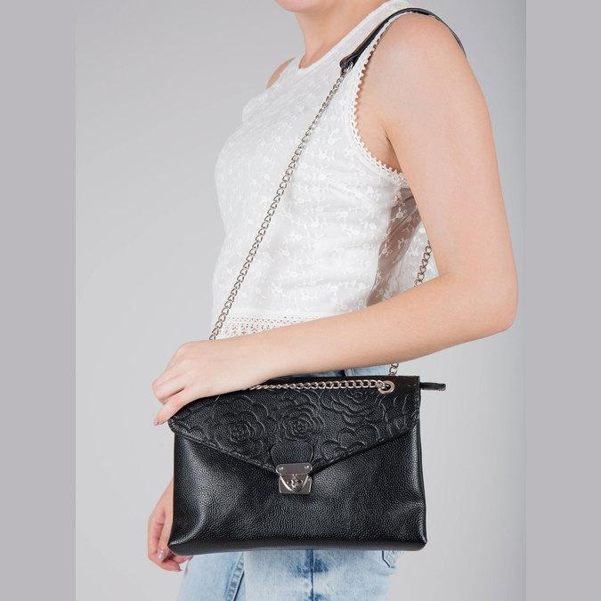 Small black handbag with flap bata, black , 961-6731 - 17
