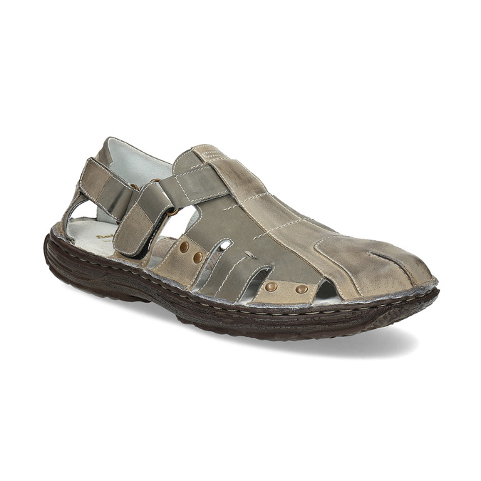 Men's leather sandals bata, brown , 866-2622 - 13