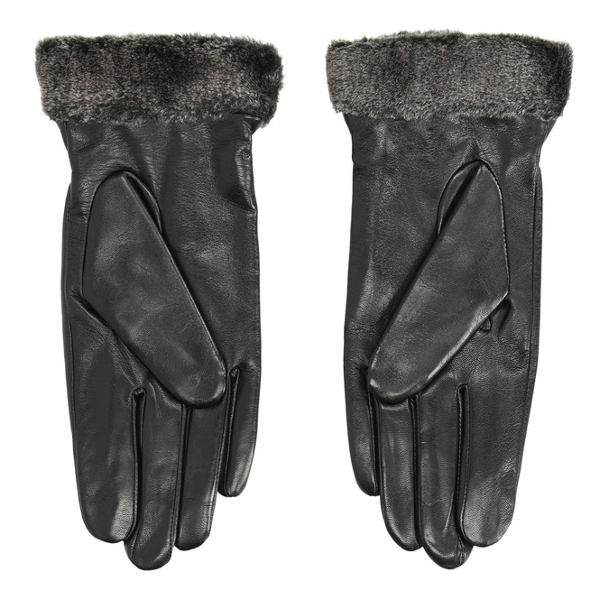 Ladies' leather gloves with fur bata, black , 904-6112 - 16
