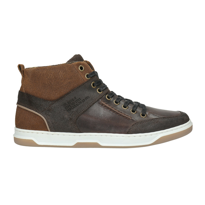 Leather high-top sneakers bata, brown , 846-4640 - 15