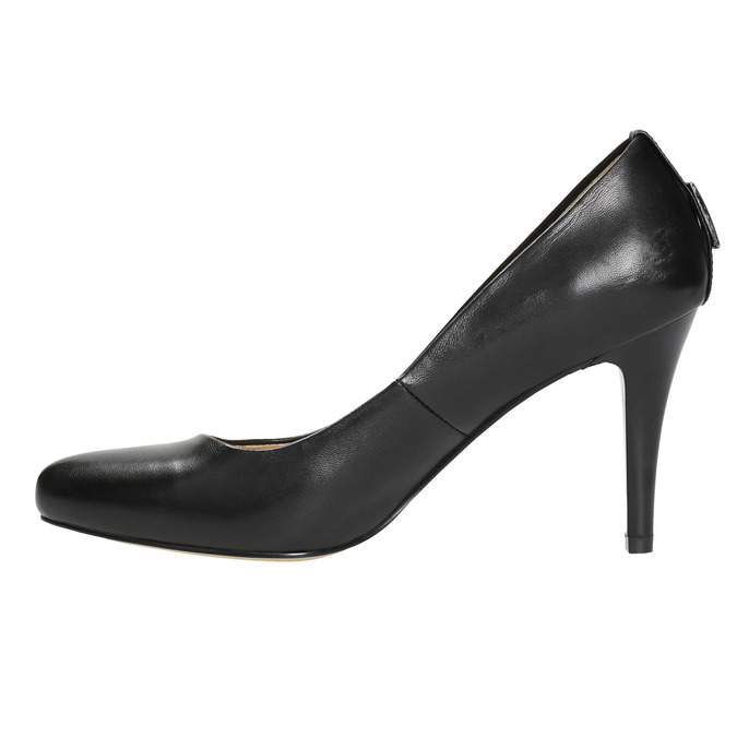 Ladies' leather pumps, black , 724-6649 - 26