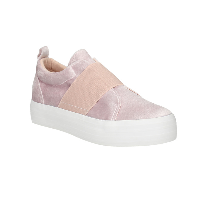 Pink velvet slip-ons north-star, pink , 519-5604 - 13