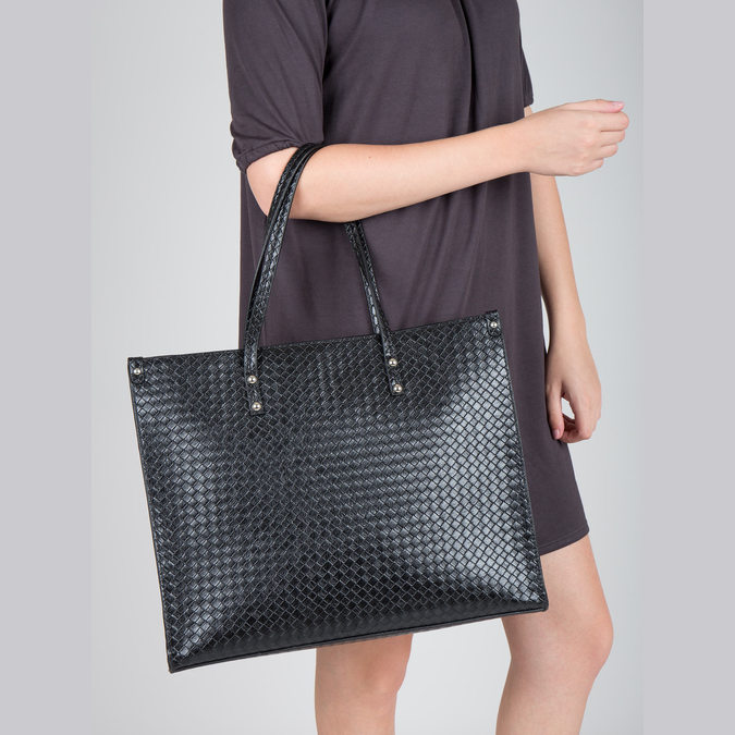 Handbag with a knit pattern marie-claire, black , 961-6540 - 18