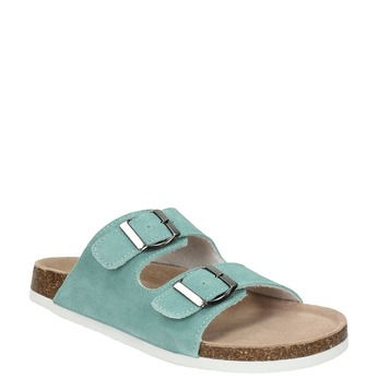 Blue leather sandals de-fonseca, green, 573-7621 - 13