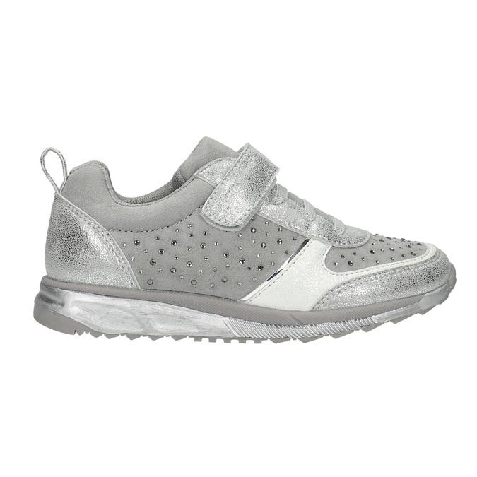 Girl's silver sneakers with small rhinestones mini-b, gray , 329-2295 - 15