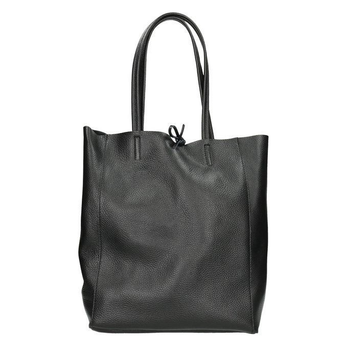 Leather handbag v Shopper style bata, black , 964-6122 - 16