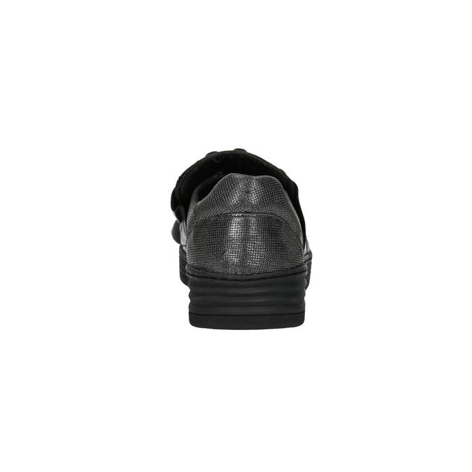 Ladies' leather slip-ons bata, black , 516-6614 - 17