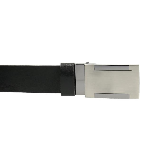 Men's leather belt with metal buckle bata, black , 954-6194 - 26