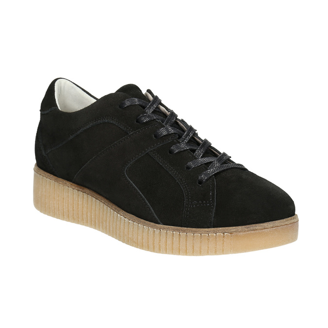 Leather sneakers with distinctive flatform bata, black , 523-6604 - 13