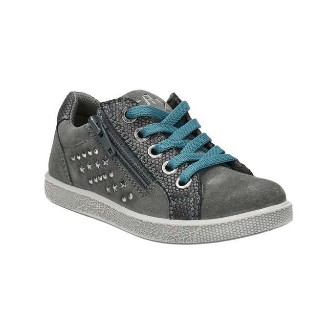 Children's studded leather sneakers mini-b, gray , 323-2173 - 13