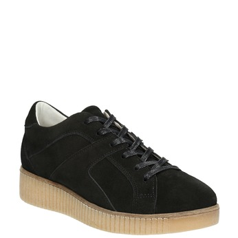 Leather sneakers with distinctive flatform bata, black , 523-6604 - 13