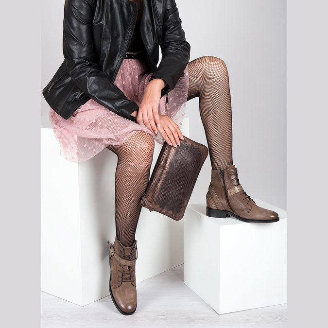 Ladies' Ankle Boots with Buckles bata, brown , 596-4661 - 19